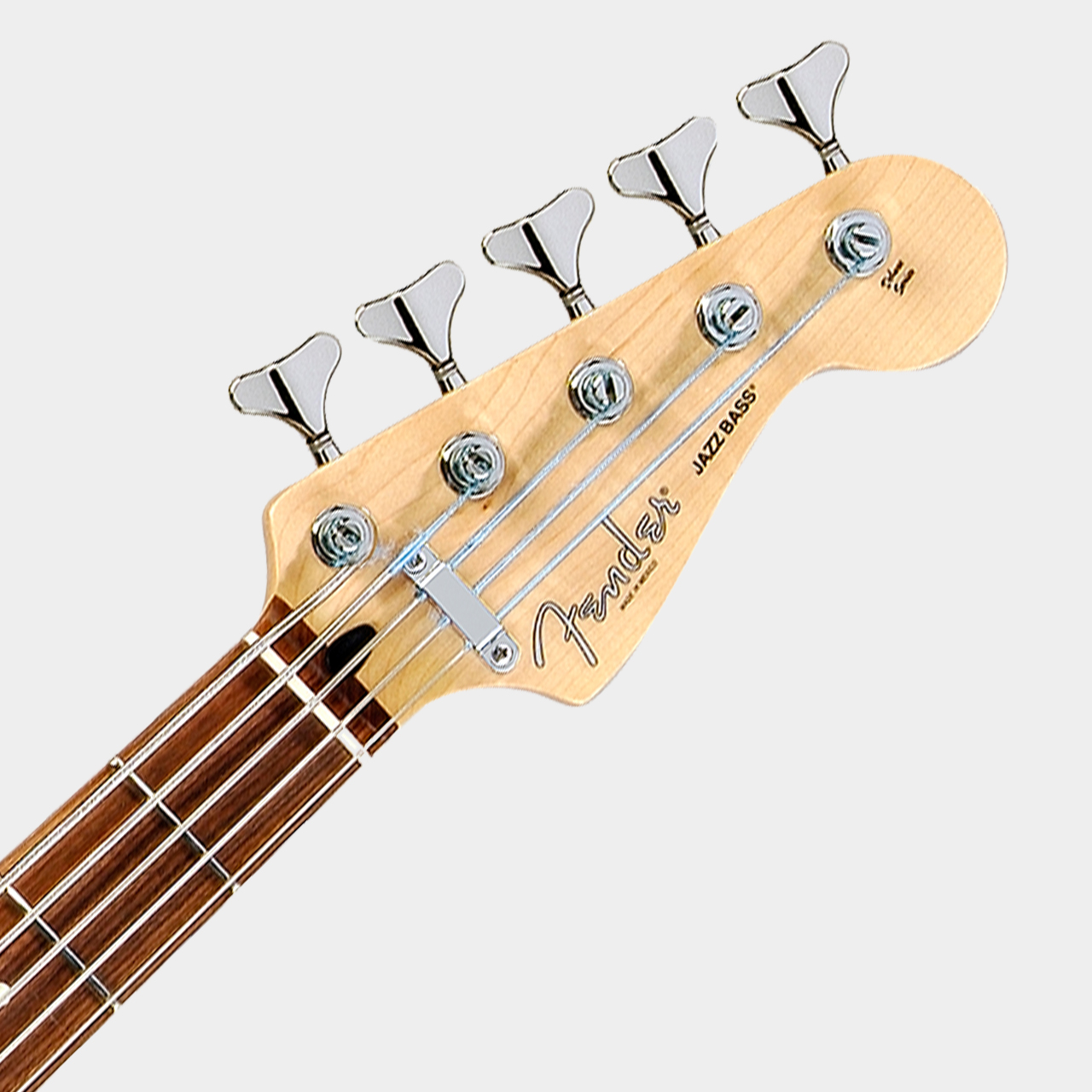 FENDER Deluxe Active Jazz Bass V Vintage White Headstock Detail