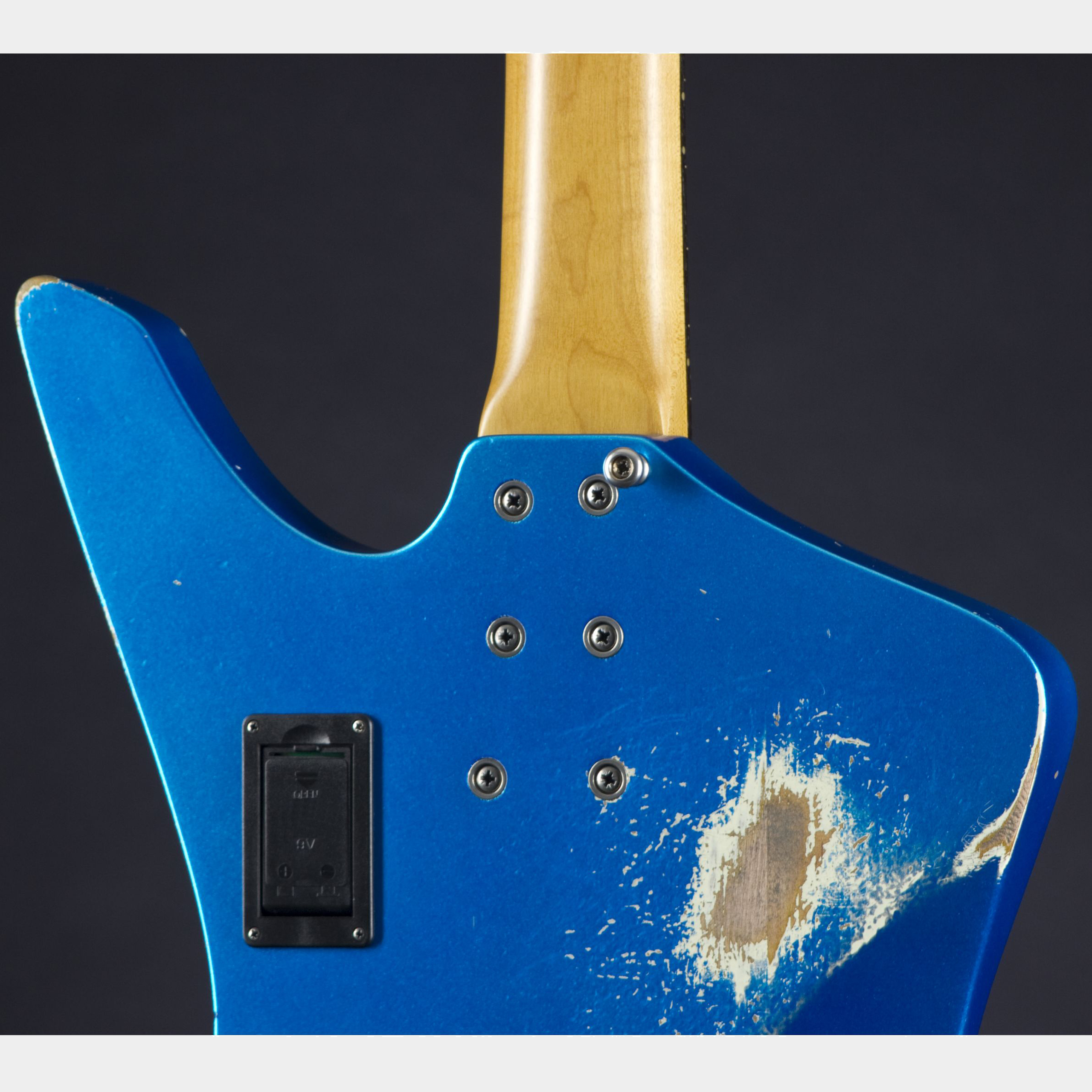 Sandberg Forty Eight 4 RW Lake Placid Blue Hardcore Aged Matching Headstock Rückseite