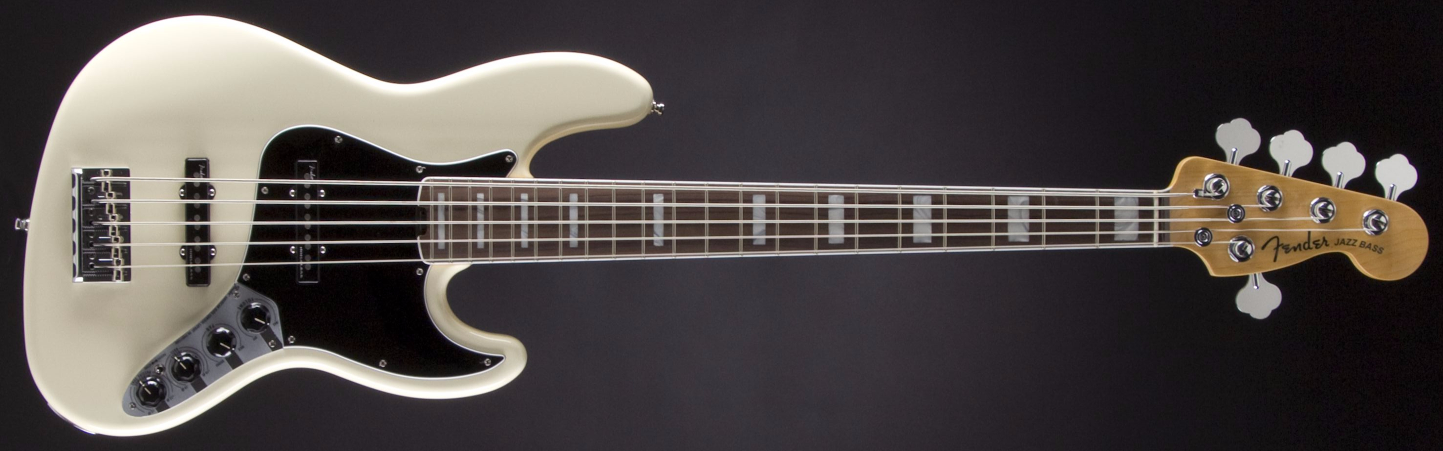 FENDER American Elite Jazz Bass V Olympic White