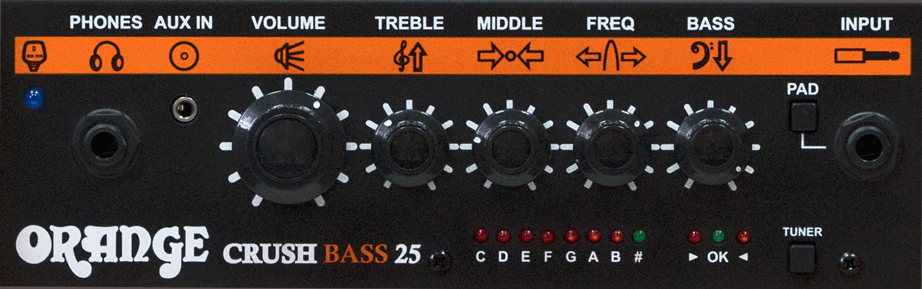 ORANGE Crush Bass 25 Black Panel