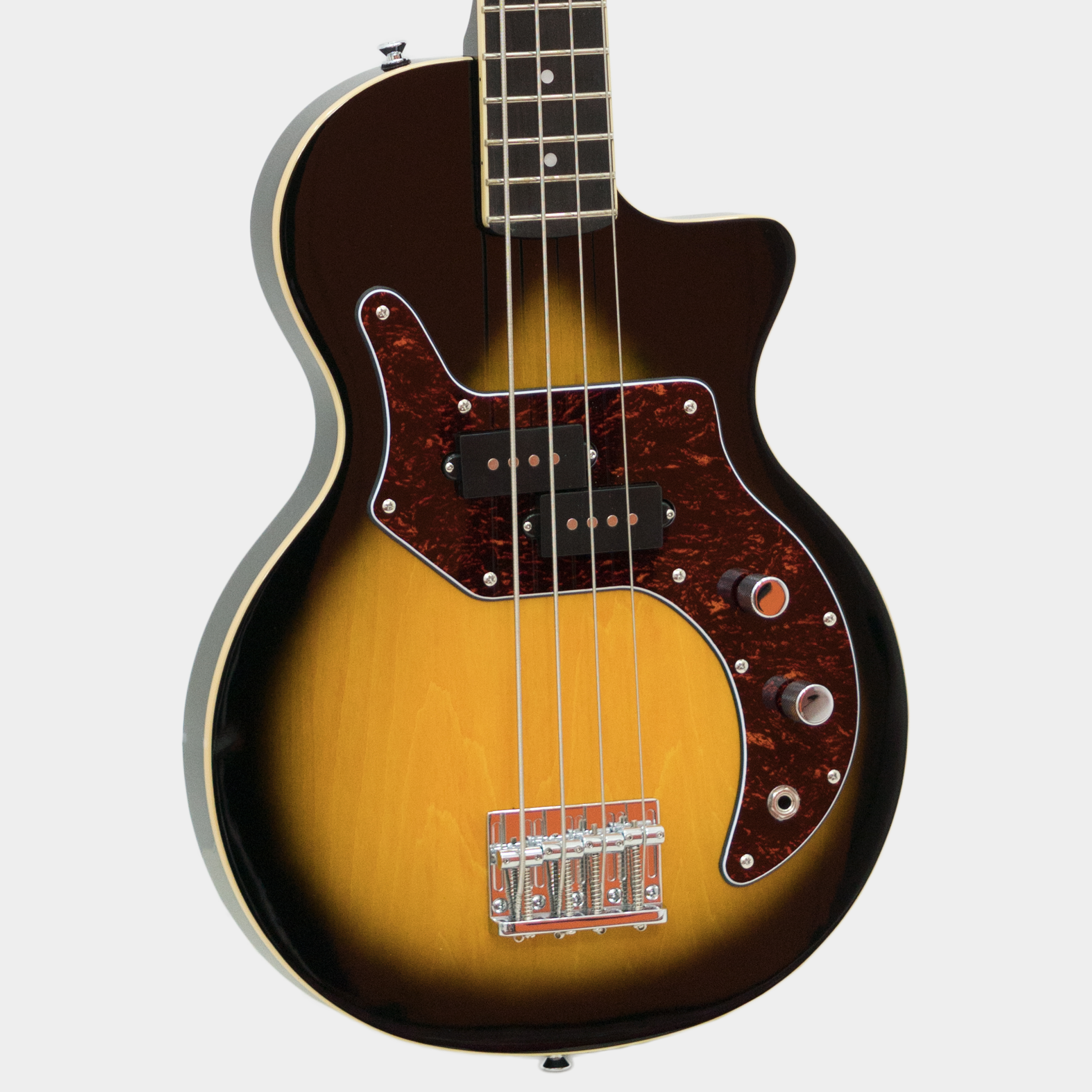 ORANGE O Bass Tear Drop Sunburst Tortoise Schlagbrett