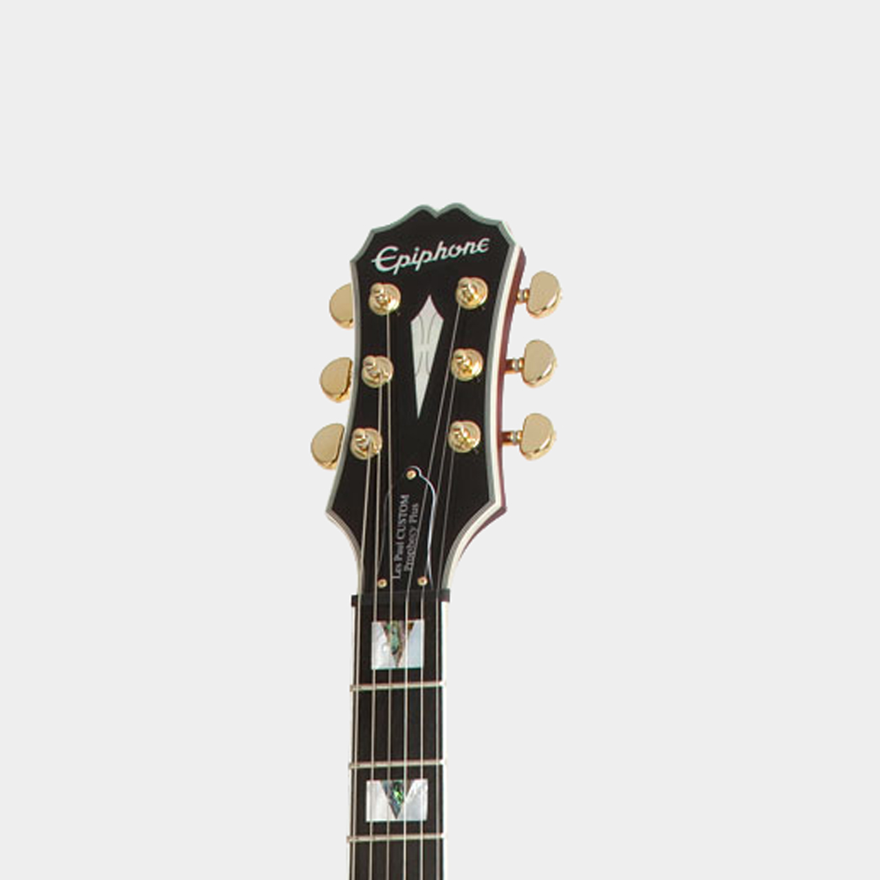 EPIPHONE Prophecy Les Paul Custom Plus EX Black Cherry Headstock Detail