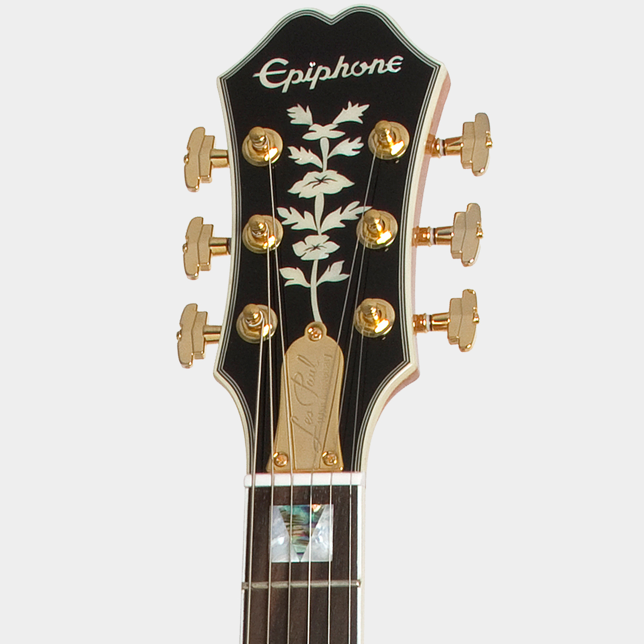 EPIPHONE Ltd Ed Les Paul Custom 100th Anniversary Natural Headstock Detail