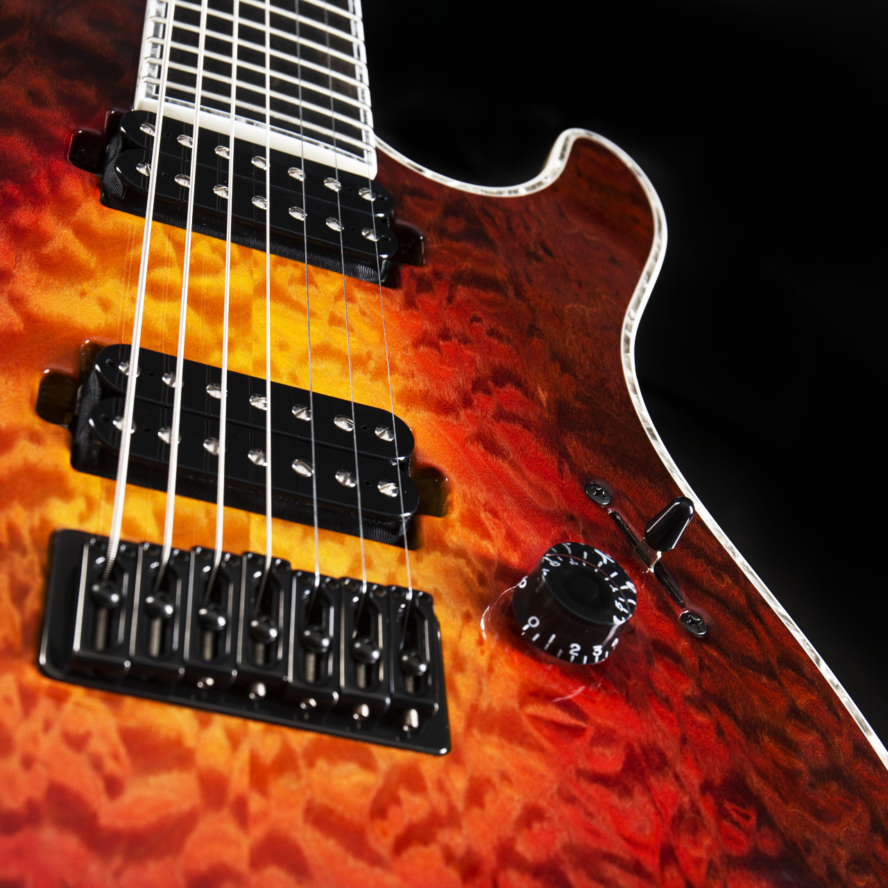 Mayones Regius 7 Quilted Maple Lava Burst Pickups