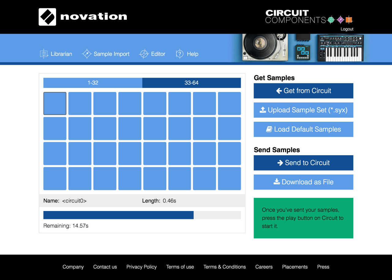 Novation Circuit sample Import Editor