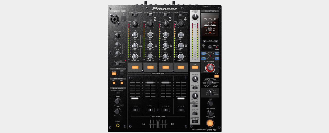 Pioneer - DJM-750-K Black 4-Channel Mixer with USB