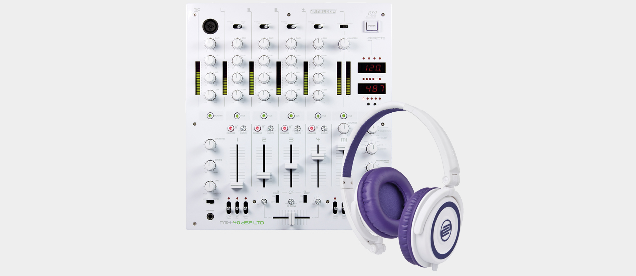 Reloop Sensational White RMX40 (RMX 40 DSP Ltd. incl. RHP-5)