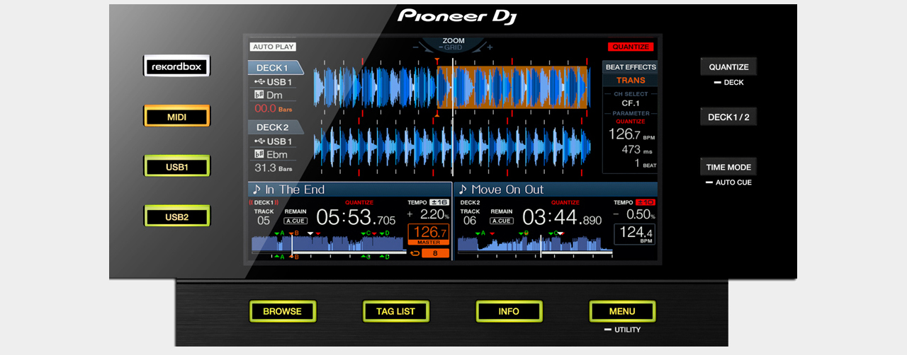 Pioneer XDJ-RX / Display-Sektion