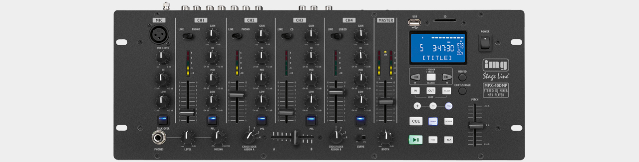 Stageline MPX-40DMP DJ-Mixer mit MP3-Player