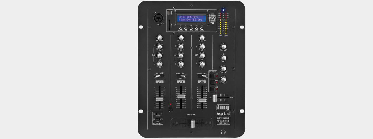 Stageline MPX-30DMP 3-Kanal DJ-Mixer m. MP3-Player