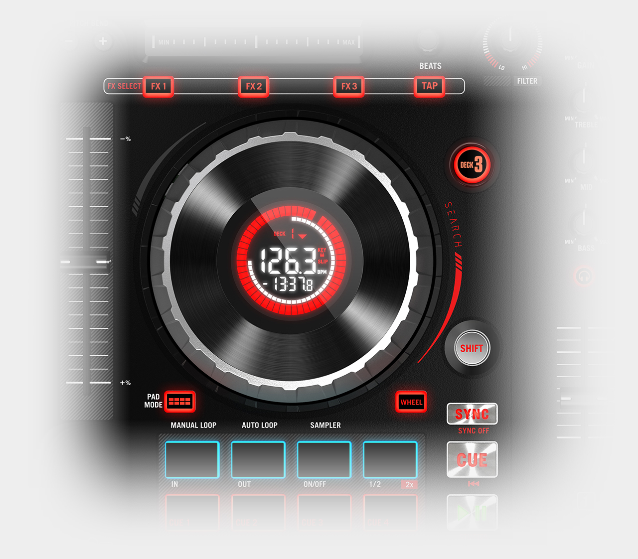 Numark Mixtrack Platinum / Jog-Wheels & Display