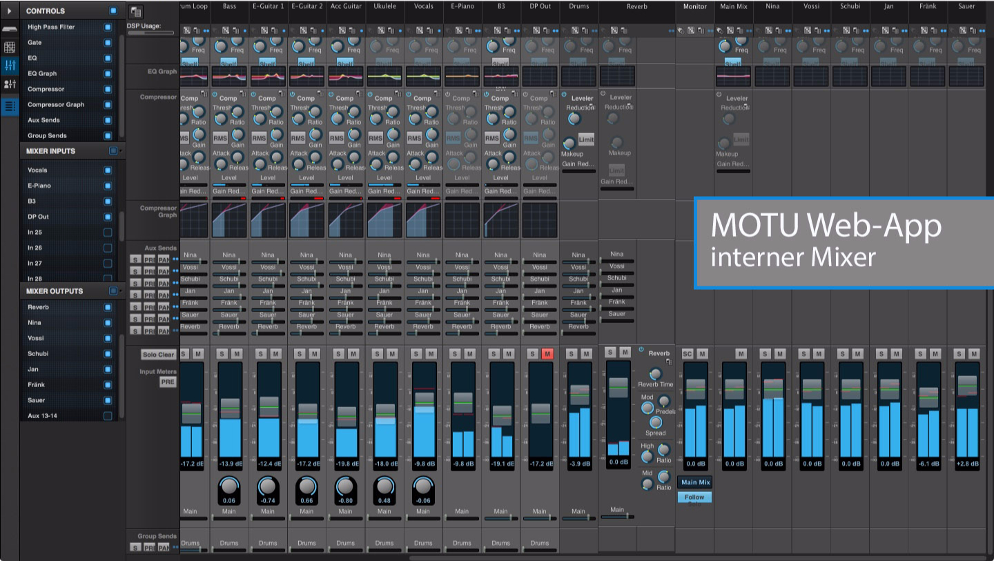 MOTU AVB Mixer Screenshot
