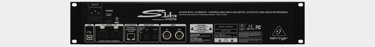 Behringer Digital Snake S16 Stagebox (Back)